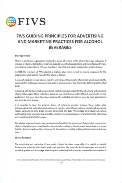 FIVS Guiding Principles for Advertising and Marketing