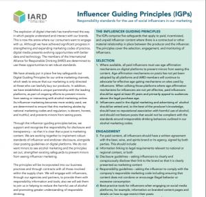 IARD Influencer Guiding Principles