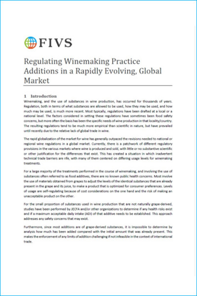 Regulating Winemaking Practice Additions