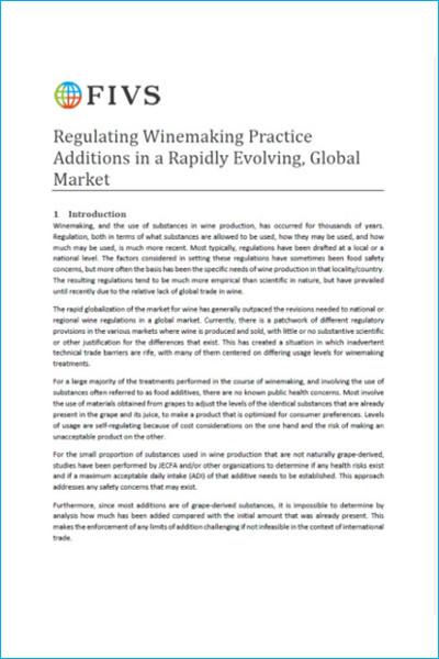 Regulating Winemaking Practice Additions